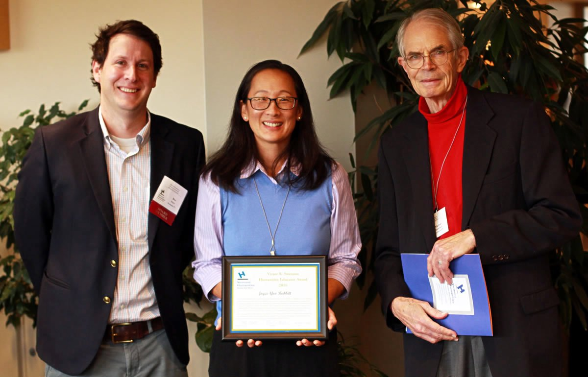 Image of Joyce Yoo Babbitt with Ben Doyle and Victor R. Swenson