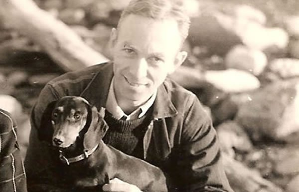 Image of EB White with dog