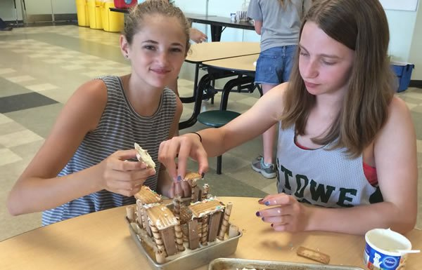 Image of two campers with gingerbread house