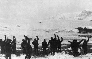 Image of Shackleton's men waving