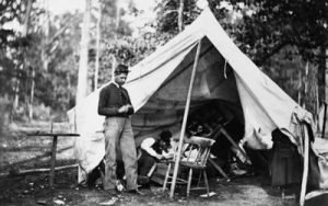 Image of Civil War soldier at campsite