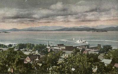 Image of historical etching of Lake Champlain