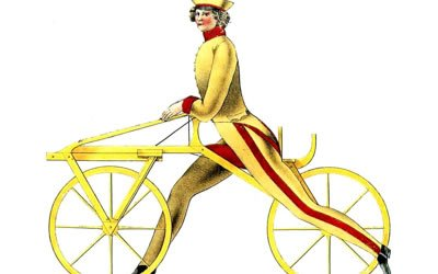 Image of man with early bicycle