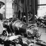 Image of woman at lathe