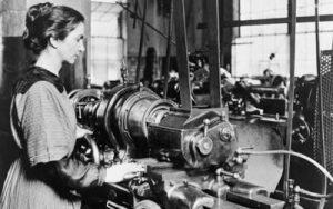 Image of woman at lathe