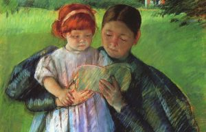 Image of painting of woman and daughter reading