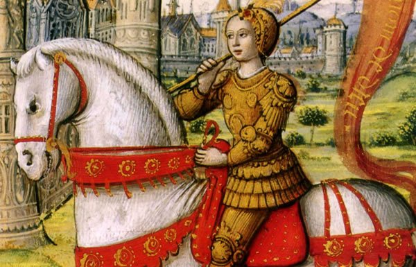 Image of Joan of Arc on horseback