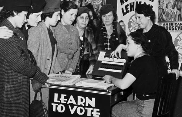 Image of women registering to vote