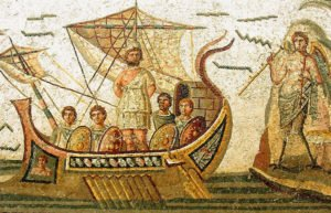 Image of mosiac of Homer in a ship