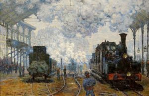 Image of painting of two trains coming into a station