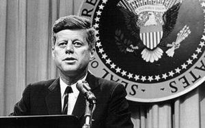 Image of JFK at lectern