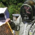 Image of beekeeper with hive