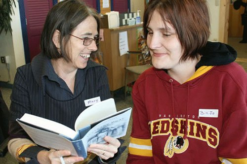 Image of two women reading a book