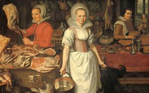 Image of painting of medieval kitchen helpers