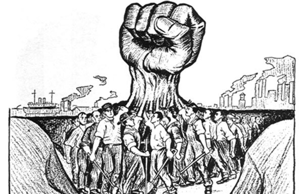 Image of drawing of fist and workers