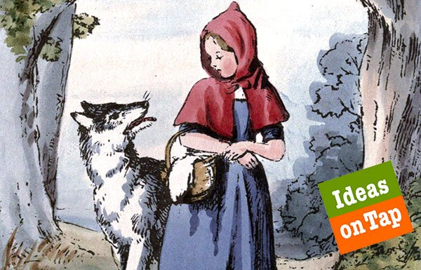 Image of Little Red Riding Hood and wolf