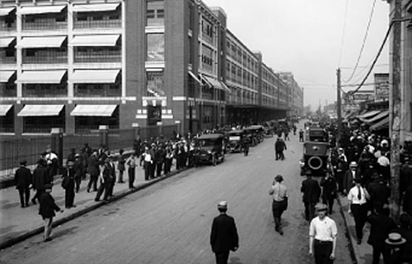 Image of people walking along street