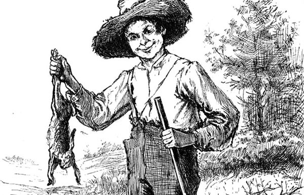 Image of etching of Huckleberry Finn
