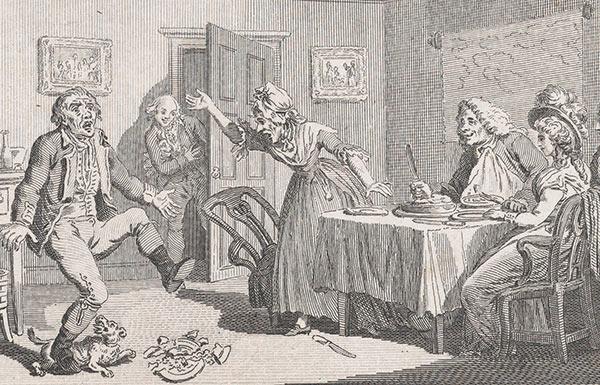 Illustration of old English dinner scene