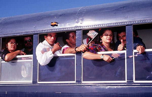 Image of Cuban refugees on bus