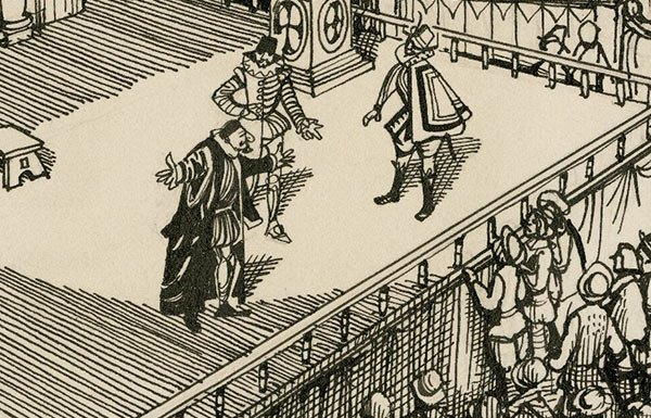 Image of drawing of Shakespeare play in Globe theatre