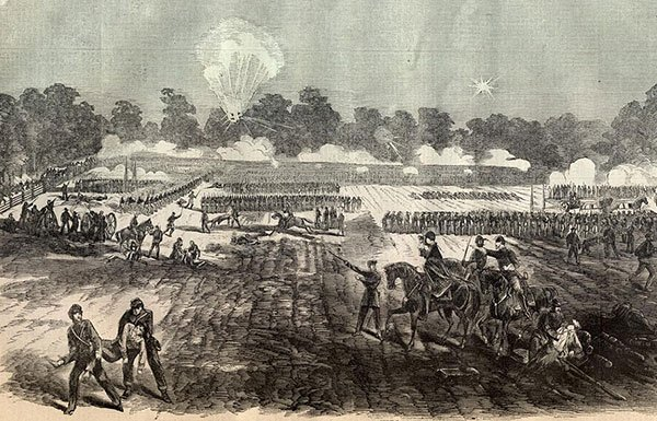 Image of etching of Civil War battle