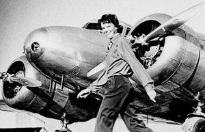 Image of Amelia Earhardt and plane