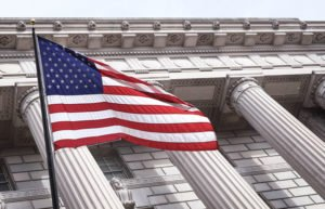 Image of flag in front of building