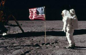 Image of man walking on moon