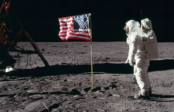 Image of man walking on moon