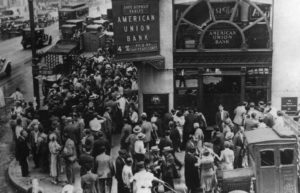 Image of crowd outside of bank