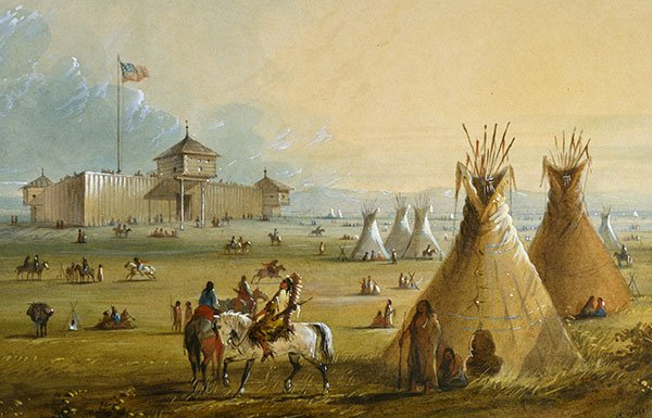 Image of tepees outside of frontier fort