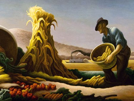 Image of painting of man at harvest