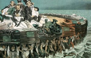 Image of drawing of industrialists atop boat