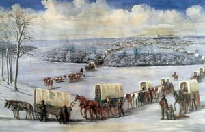 Painting of wagon trains