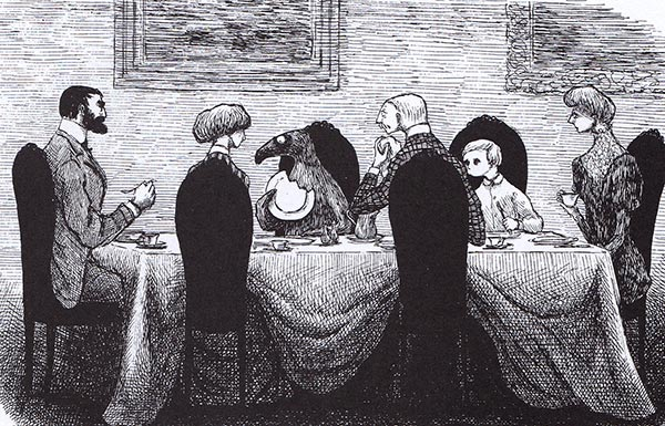 Illustration of family at dinner table with vulture