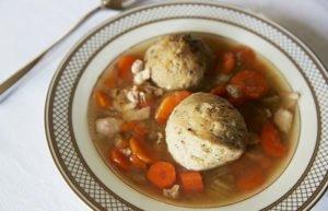Bowl of matzo soup