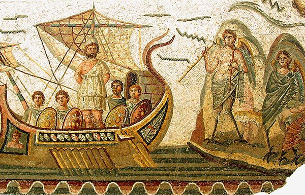 Mosaic of scene from the Odyssey