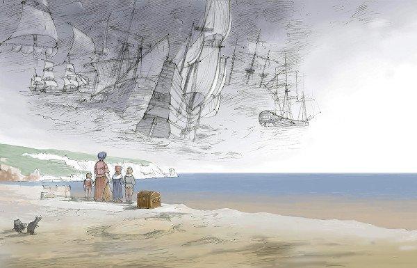 Illustration of family on beach