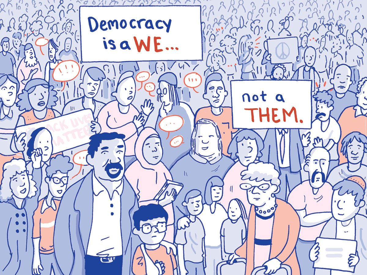 Democracy is a We cartoon