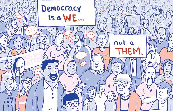 Democracy is a We cartoon