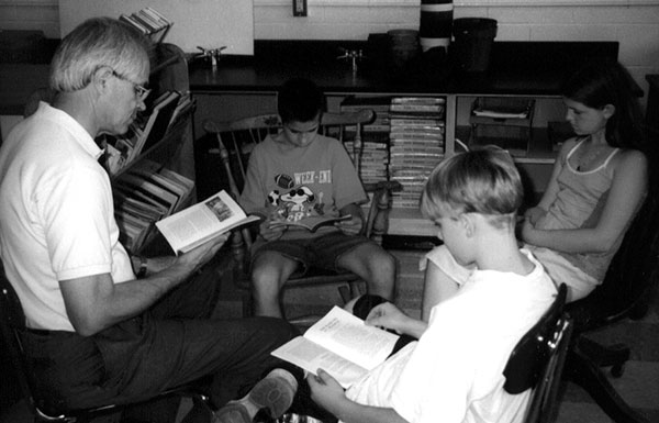 Victor Swenson with students at an early Humanities Camp
