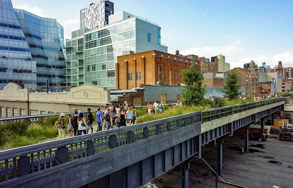 People walking on the High Line park in New York City
