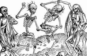 Illustration of skeletons dancing