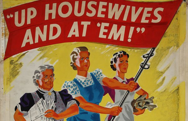 "Painting of British housewives with ""Up and at 'Em"" banner"