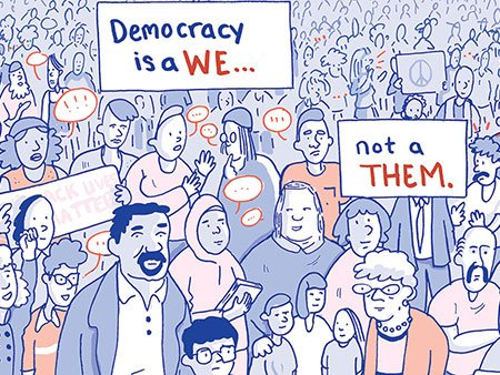 Democracy is a We, Not a Them cartoon