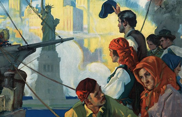 Painting of Jewish immigrants arriving in New York by boat