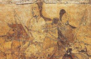 Painting of Chinese warriors on horseback