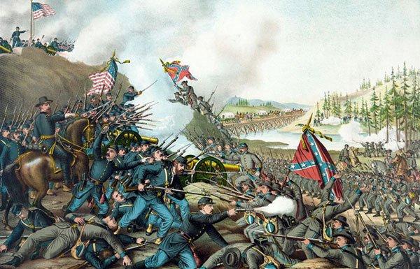 Painting of Civil War battle