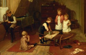 Painting of children working on crafts in the 1800s